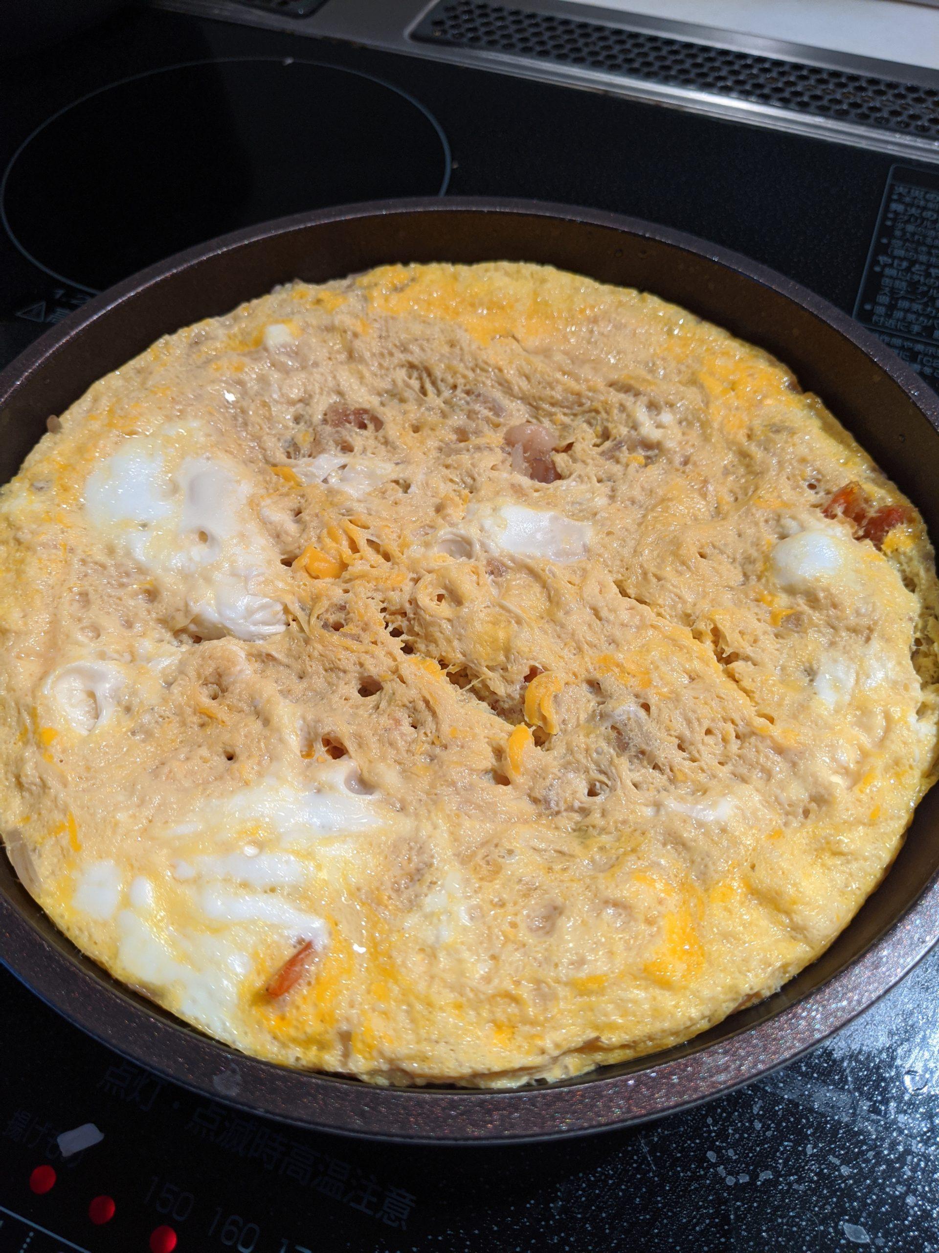 エビフライの卵とじ